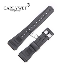 CARLYWET 20mm Men Lady Black Replacement Silicone Rubber Straight End watch band Strap Loop With Black Plastic Pin Buckle