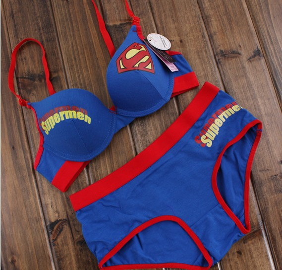 Free Shipping Cute Japanese Bra And Panty Sets Superman -7582