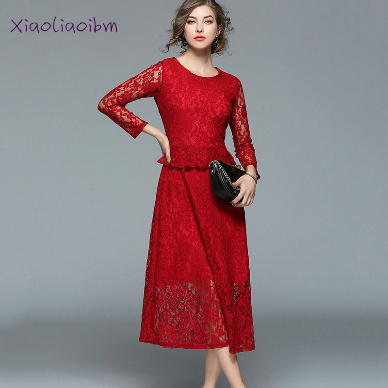 Women Simple A-line Dress Spring Noble Dance Lace Summer O-neck Long Sleeve Mid-Calf Dress Elegnat Women Casual Solid Vestidos