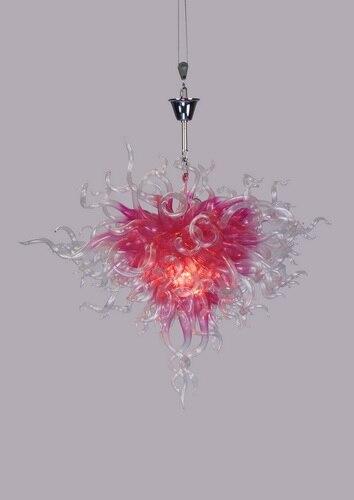Livraison gratuite moderne LED lustre Style romantique rose soufflé verre suspendu chaîne lustre