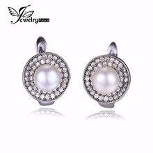JewelryPalace Lujo 7mm Cultivadas de agua dulce Blanco Perla Pendiente de Clip En Los Pendientes de Plata de Ley 925 para Las Mujeres Joyería Fina