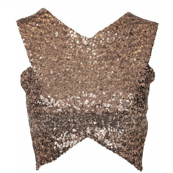 086ebea0b67d Black and Gold Sequined V Neckline Crisscross Wrap Crop Top femme  sleeveless t shirts off shoulder tops for women WH081-in T-Shirts from  Women's Clothing on ...