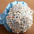 Роскошный Ручной Работы Высшего качества Брошь невесты Свадебное свадебный букет невесты стразы gem Искусственный цветок 8575 Г жемчужина