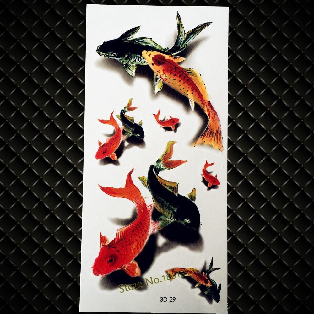 New Popular Carp Tattoo Body Art Painting Big Fish Design Temporary Tattoo Sticker Arm Shoulder Leg Makeup Flash 3D Tattoo G3D29