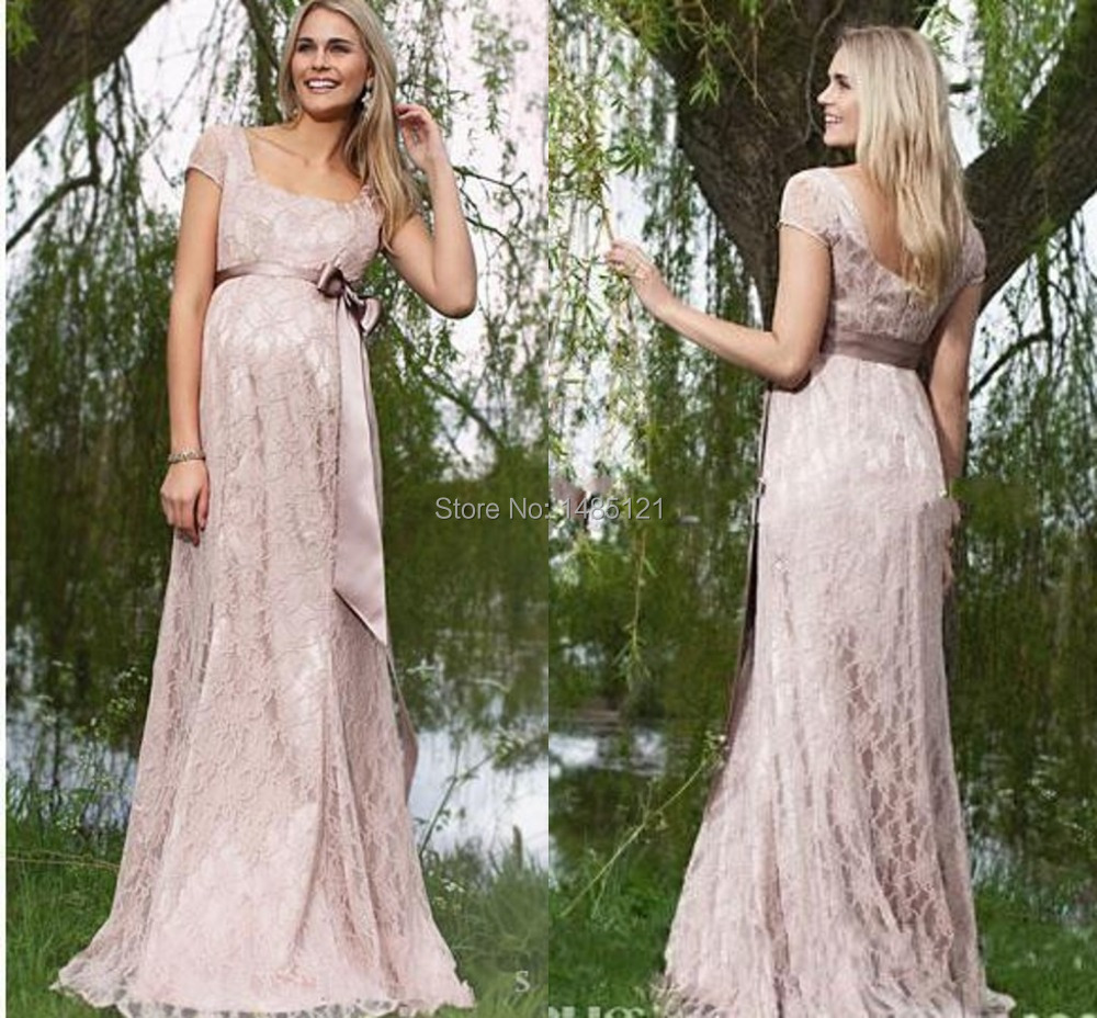 Maternity prom dress prom dress for pregant women - Short Sleeves Maternity Party Evening Dresses Elegant Lace A Line Long Length Party Formal Gowns