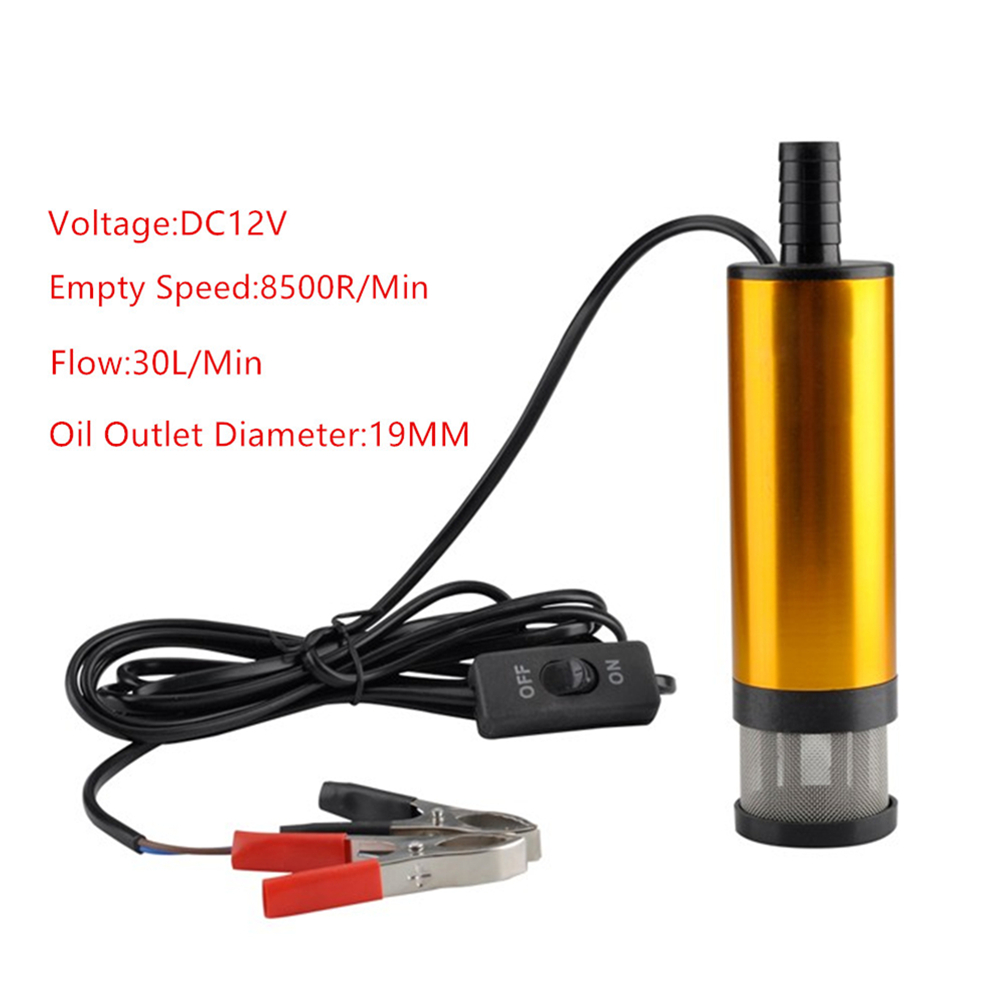 12V DC Car Electric Submersible Pump Diesel Fuel Water Oil Transfer Pump with On/Off Switch 30L/MIN Car Camping Portable