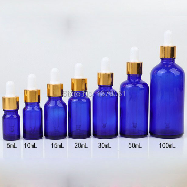5ml,10ml,15ml,20ml,30ml,50ml,100ml Blue Mini Glass Bottles with Dropper DIY Sample Vial Essential Oil Bottle Gold Rim Free ship цена