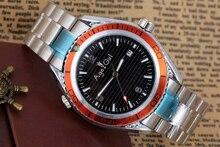 Nova Marca de Luxo dos homens de Aço Inoxidável Automático Auto Mecânica Do Vento Laranja Pulseira de Borracha Preta de James Bond 007 44mm data Relógio