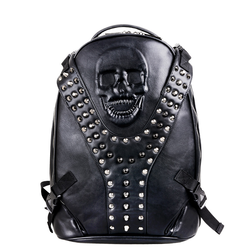 Fashion Leisure Men's Travel Bags Male 3D Skull Bag Vintage Backpacks for Teenagers Casual Leather Men Backpack male bag vintage cow leather school bags for teenagers travel laptop bag casual shoulder bags men backpacksreal leather backpack