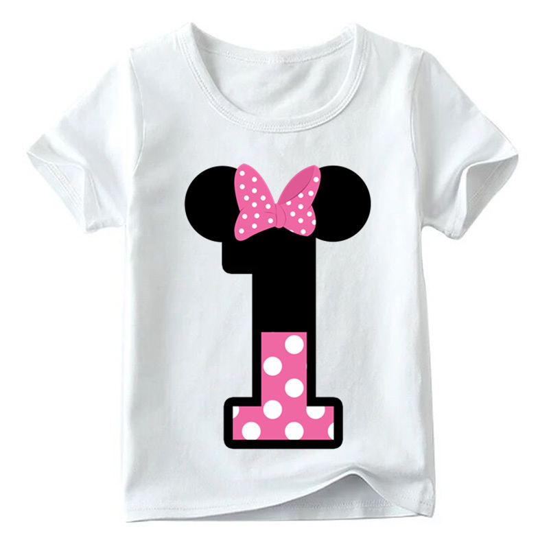 Baby Boys/Girls Happy Birthday Letter Bow Cute Print Clothes Children Funny T shirt,Kids Number 1-9 Birthday Present,HKP2416 7