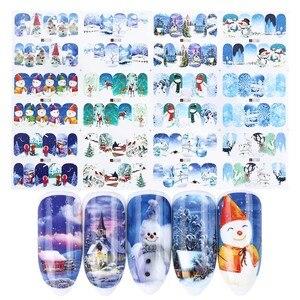 Image 4 - Autocollants pour ongles de noël eau, 12 pièces, décalcomanies, bonhomme de neige, père noël, cerf, accessoire de manucure, nouvel an, coulissant, JIA/BN