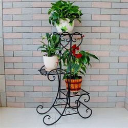 Einfache Metall Blume Pflanze Display Stand Home Garten 3 Tiers Pflanze Blumentopf Lagerung Rack Durable Balkon Blume Stand 3 farben