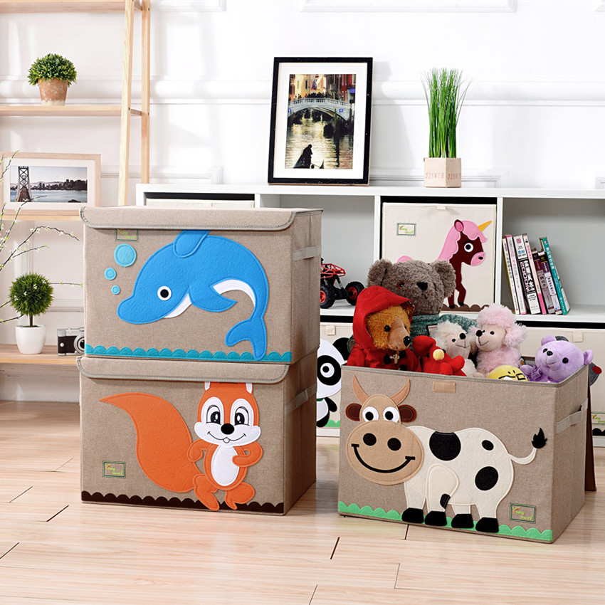 2017 New 3D Embroidery children cartoon toys storage box Folding Linen storage box kid clothes organizers Extra large size