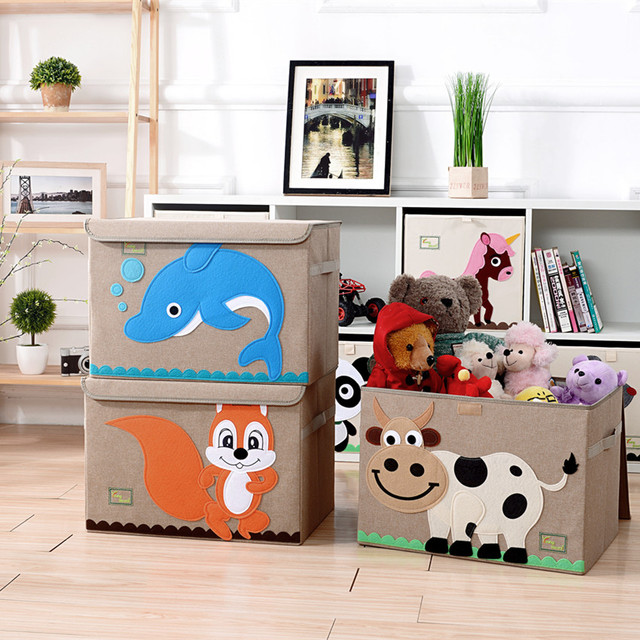 2017 New Embroidery Children Cartoon Toys Storage Box Folding Linen Kid Clothes Organizers