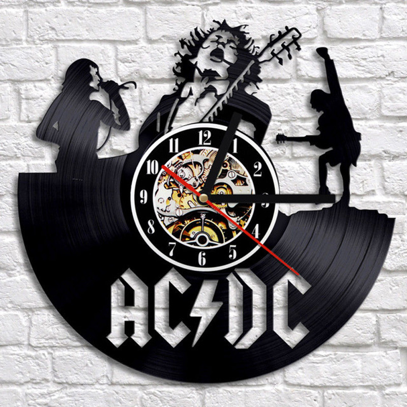 Vintage Vinyl Record Wall Clock Modern Design Classic 3D Decorative ACDC Rock Band Clocks Wall Watch Home Decor For Music Lover