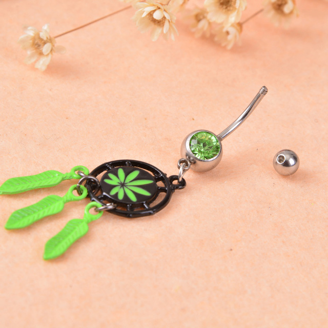 Dream Catcher Belly Button Rings Women's Crystal Dream Catcher Green Dangle Navel Belly Button Ring 11