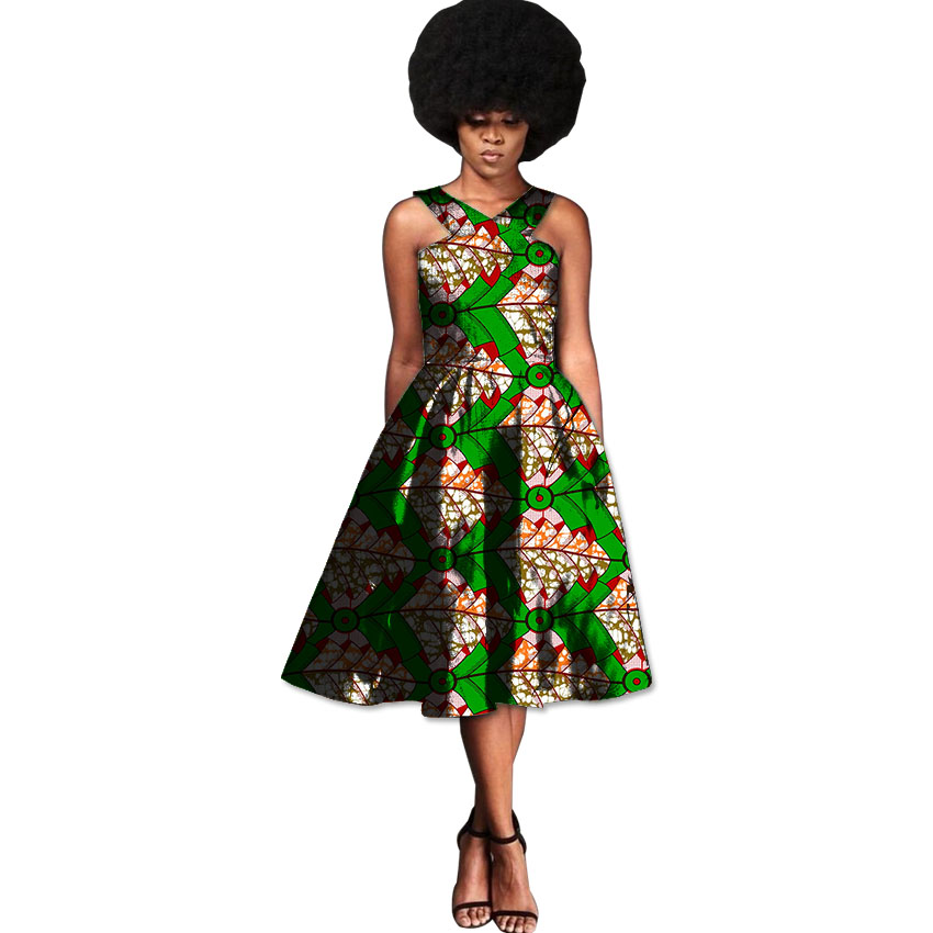 African Fashion Sleeveless Dresses Women Africa Retro Print Ladies Festival Party Dress Dashiki Outfits Made By Bright Wax