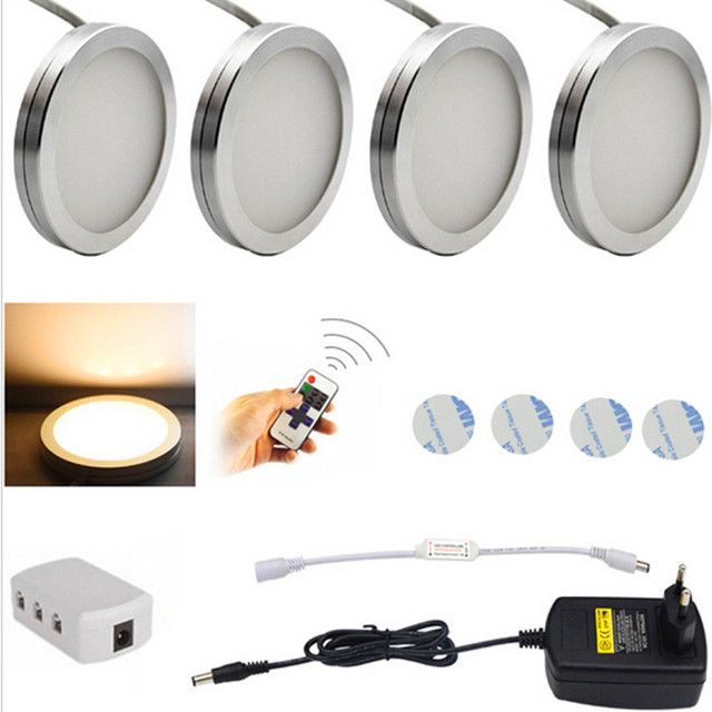 LED Under Cabinet Lighting Puck Lights Downlight Spotlights with Wireless RF Remote Control Dimmable for Furniture  sc 1 st  AliExpress.com & LED Under Cabinet Lighting Puck Lights Downlight Spotlights with ...