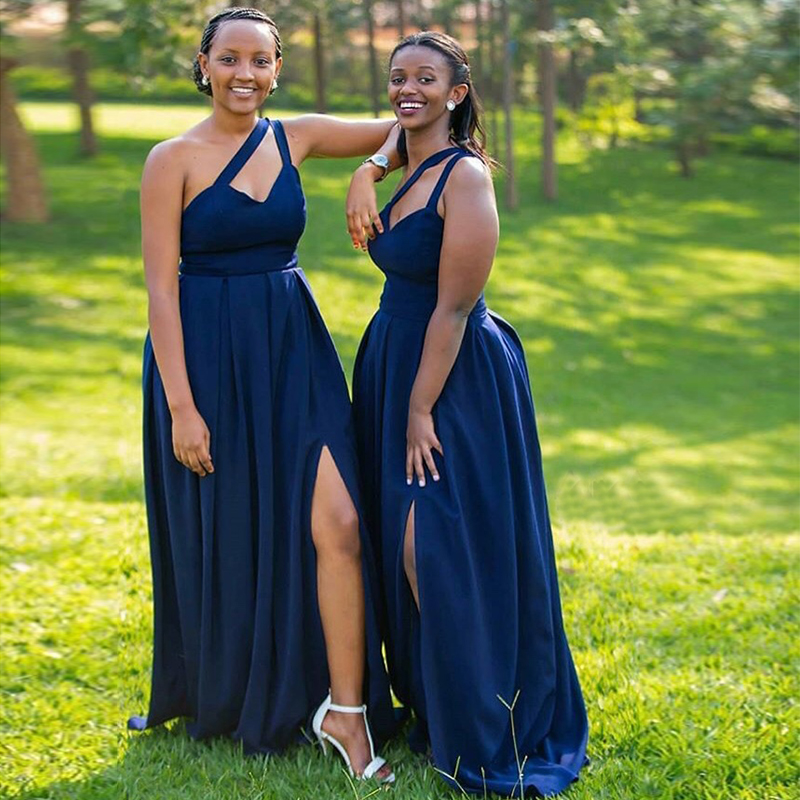 Simple Navy Blue Bridesmaid Dress One Shoulder 2019 Long Satin Front Split Robe De Soiree Wedding Party Dress Custom Made