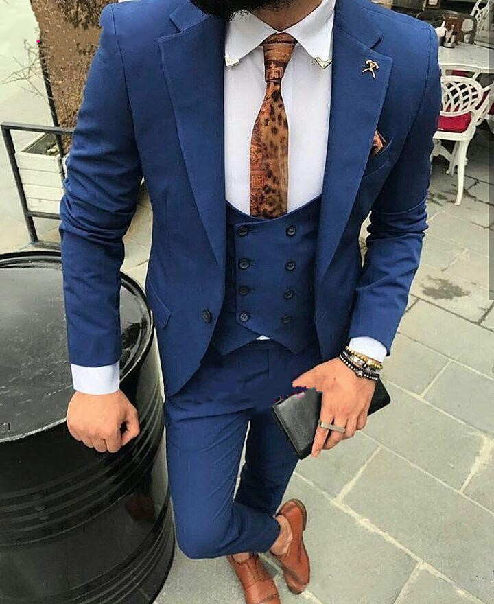 Three Pieces Navy Blue Mens Tuxedo Cheap Real Picture Casual Dinner Suits Formal Suits Tuxedo Male Tuxedo(Jacket+pant+vest+tie)