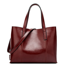 2019 New Fashion Oil Wax Leather Women Handbag Brand Women's Messenger Crossbody bag Casual Tote Leather Female Shoulder bags 2017 time limited tote totes new female leather handbag european and american style oil wax shoulder crossbody messenger bag