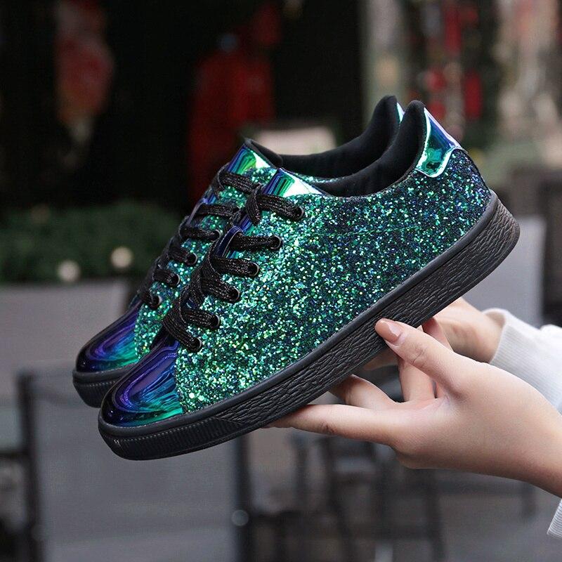 Décontracté femmes baskets 2019 marque de luxe paillettes brillant Bling femmes chaussures plates mode dame ballerines brillant baskets