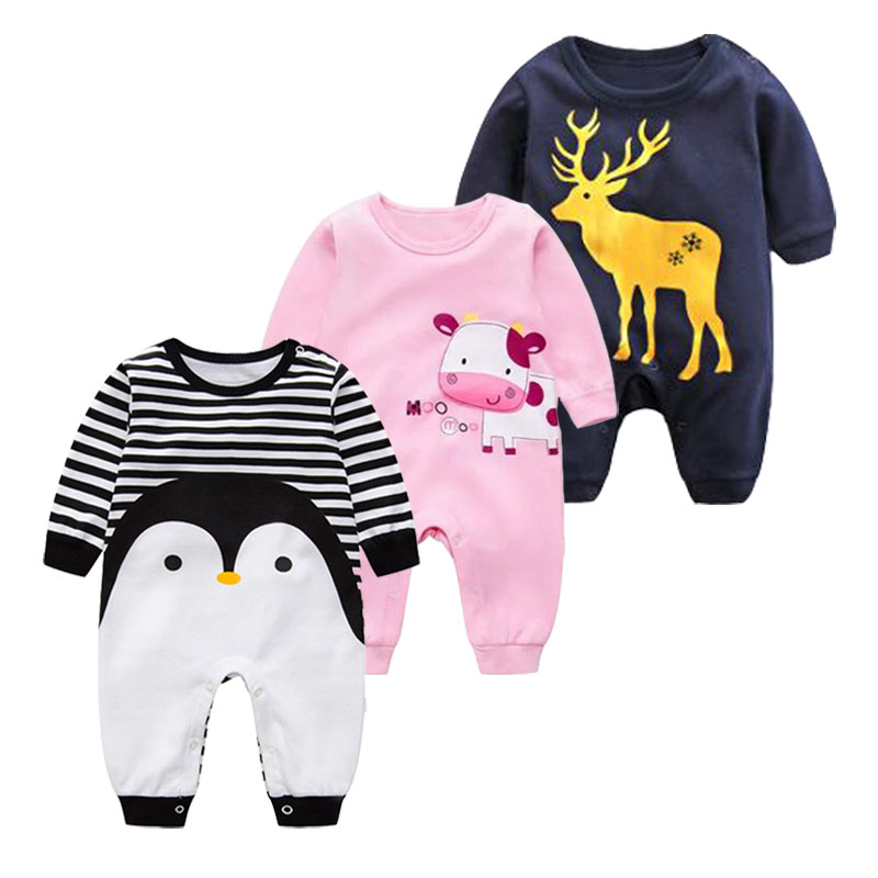 2018 Spring Autumn long sleeved cotton Romper baby clothes children's clothing cartoon Penguin baby animal girl jumpsuit Romper the spring and summer of 2018 newborn baby clothes jumpsuit romper cotton short sleeved
