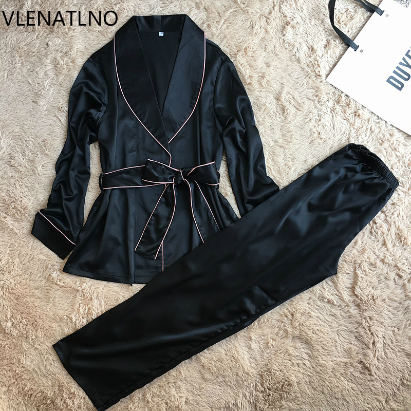 VLENATLNO full sleeve sexy women's silk   pajamas     set   free shipping 2017 lovers' day gifts for wife pijamas   set   high quality suit