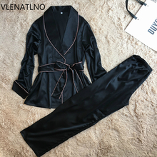 VLENATLNO full sleeve sexy women s silk pajamas set free shipping 2017 lovers day gifts for