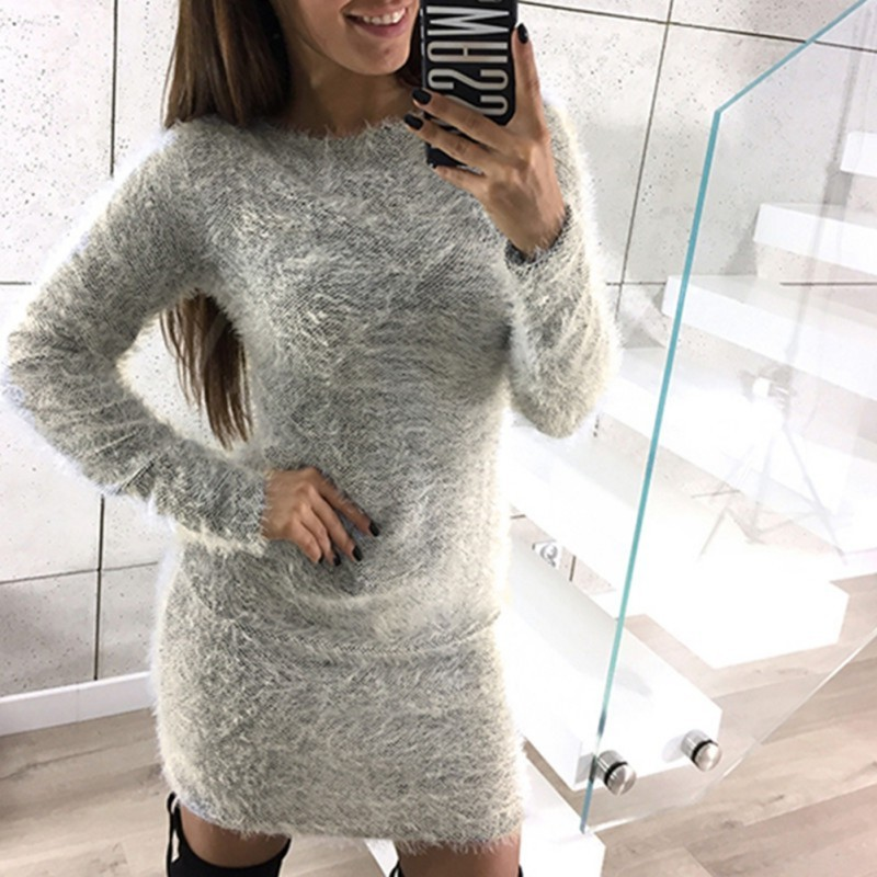 Winter Long Sleeve Sweater Plush Dress Women Sexy Slim Bodycon Knitted Dresses Skinny Party Dress Female Vintage vestidos 2018