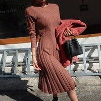 RUGOD 2018 Latest Sweater Dress Long Style for Women Fashion Winter Dress O neck Long Sleeve High Waist Elegant Female Dress