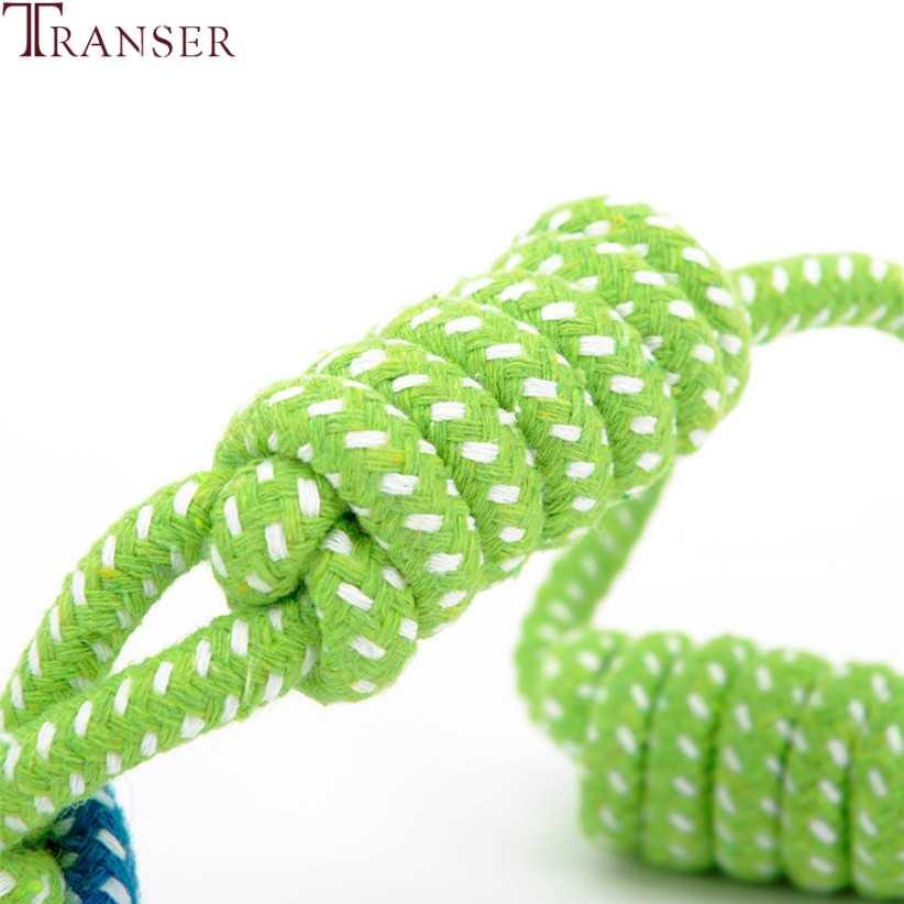 Transer ราคาถูกสุนัขของเล่นสุนัขเคี้ยวทำความสะอาดฟันสีเขียวเชือกขนาดใหญ่สุนัขขนาดเล็ก Cat 80710