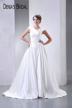 2017 Real Photos V-Neck A-Line Wedding Dresses Pleats Floor-Length Chapel Train Long Bridal Gowns