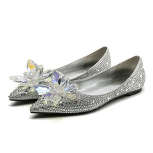 Womens embroidered rhinestone flat shoes 2019 spring summer women diamonds wedding EU35-40 size BY653