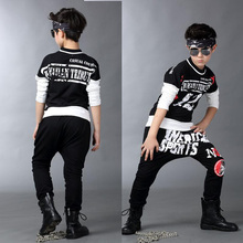 Children's Modern Jazz Dance Costume Men's Hip-Hop Party Ballroom Dance Clothing Pants + Tops Sportswear
