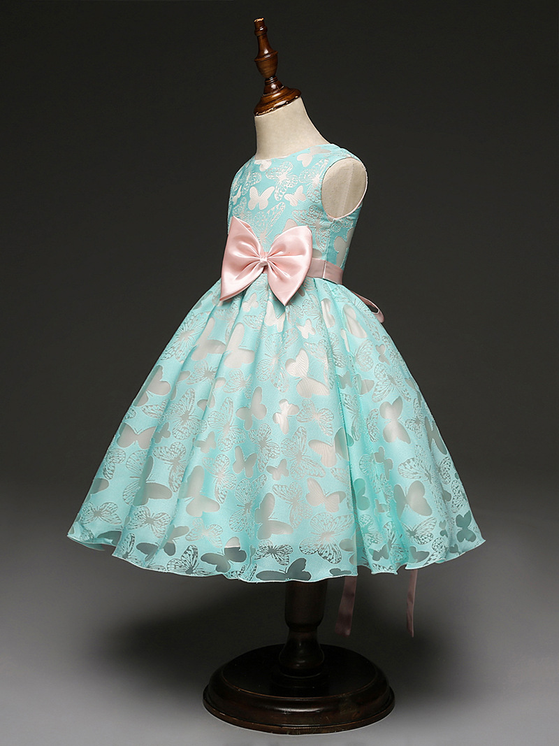 Flower Girl Pageant Dresses Bridesmaid Wedding Dress Romantic Blue ...