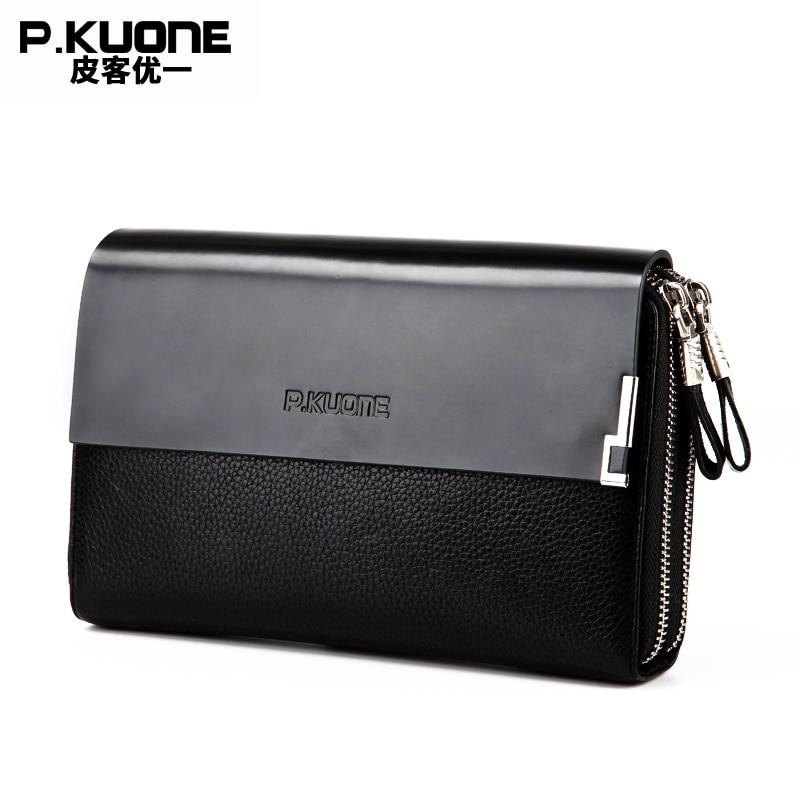 ФОТО P.KUONE Genuine Leather Clutch Bag Double Zipper 2017 Fashion High Quality Wallets Luxury Brand Purse Men Handbag Card Holder