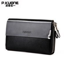 P.KUONE Genuine Leather Clutch Bag Double Zipper 2017 Fashion High Quality Wallets Luxury Brand Purse Men Handbag Card Holder