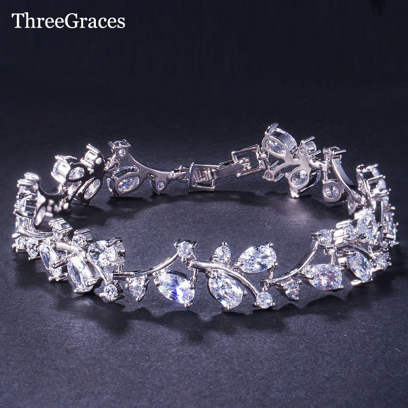 ThreeGraces Romantische CZ Jewelry Leaf en Flower Zirconia Bridal Wedding Armbanden Gift voor Bruidsmeisje BR031