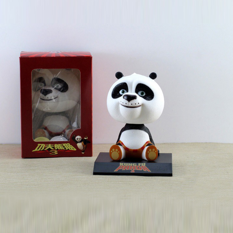 New Movie Kung Fu Panda 3 Po Bobble Head Toys Car Toys PVC Figures 4 10CM Stock sale Free Shipping