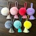 Hot Sales Rabbit fur ball keychain leather pompon tassel Fur Pom Pom Key chain porte clef pompom de fourrure Women Bag charm