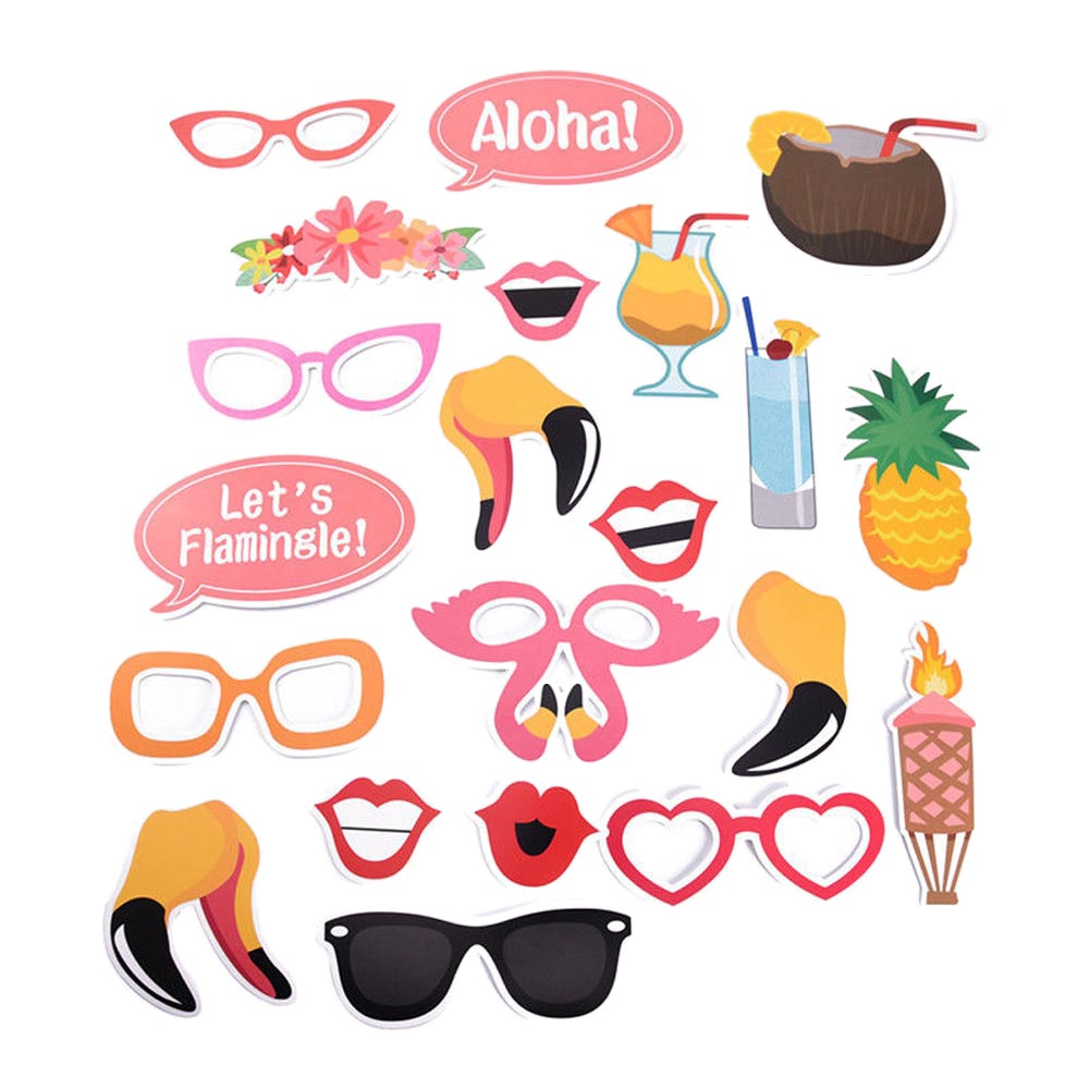 Beach Vacation 21pcs DIY Photo Props Wedding Decoration Birthday Party Kids Favors Fun Mask Photography Event Supplies(China)