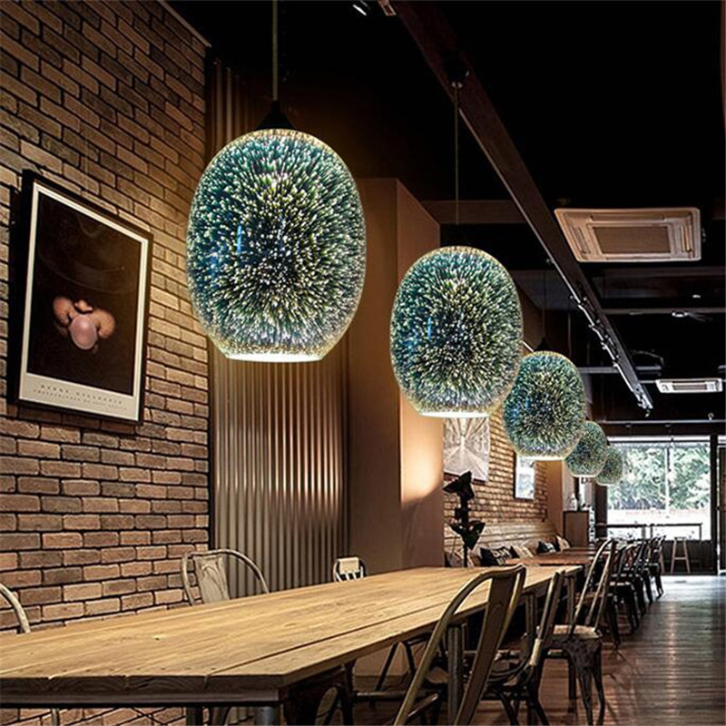 Creative Fashion Plated Glass 3D Led E27 Pendant Light for Dining Room Living Room Restaurant Bar Glass Pendant Lamps 1483 creative design modern led colorful glass pendant lights lamps for dining room living room bar led g4 85 265v bubble glass light