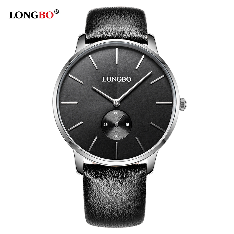 2018 LONGBO Luxury Quartz Casual Clock Casual Fashion Leather Strap Watch Men Women Lovers Couple Sports Analog Wristwatch Gift