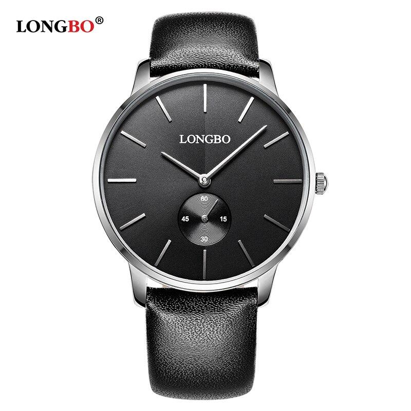 2018 LONGBO Luxury Quartz Casual Clock Casual Fashion Leather Strap Watch Men Women Lovers Couple Sports Analog Wristwatch Gift