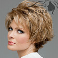 New Light Brown Highlight Short Straight Wig for White Women Natural Puffy Wigs Full Lace Synthetic Hairpieces