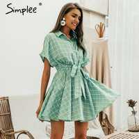 Simplee Elegant plaid sashes women dress Short sleeve A-line casual streetwear female short dress Button summer dress 2019