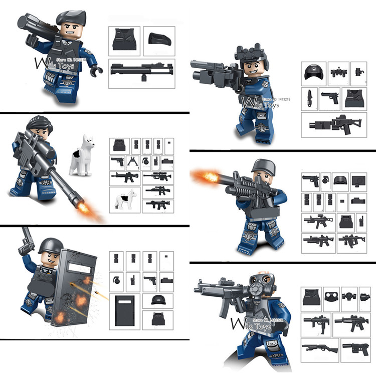 6pcs City Police MILITARY World War Weapon SWAT Soldiers Army Navy Seals Team Building Blocks Bricks Figures Toys Boys Children military city police swat team army soldiers with weapons ww2 building blocks toys for children gift