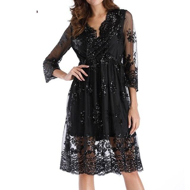 Fashion Dress Women Double Layer Long Sleeve Sequins Glittery Deep-V Collar Summer Dress Sexy Dress Long