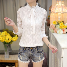 2018 spring Bow Tie long Sleeve Blouse flower White Elegant Tops round neck Women Autumn lace Casual Chiffon  669i7